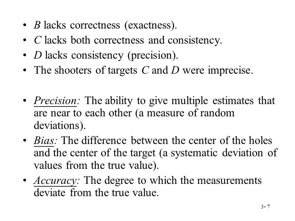 3- 7 B lacks correctness (exactness). C lacks both correctness and consistency.