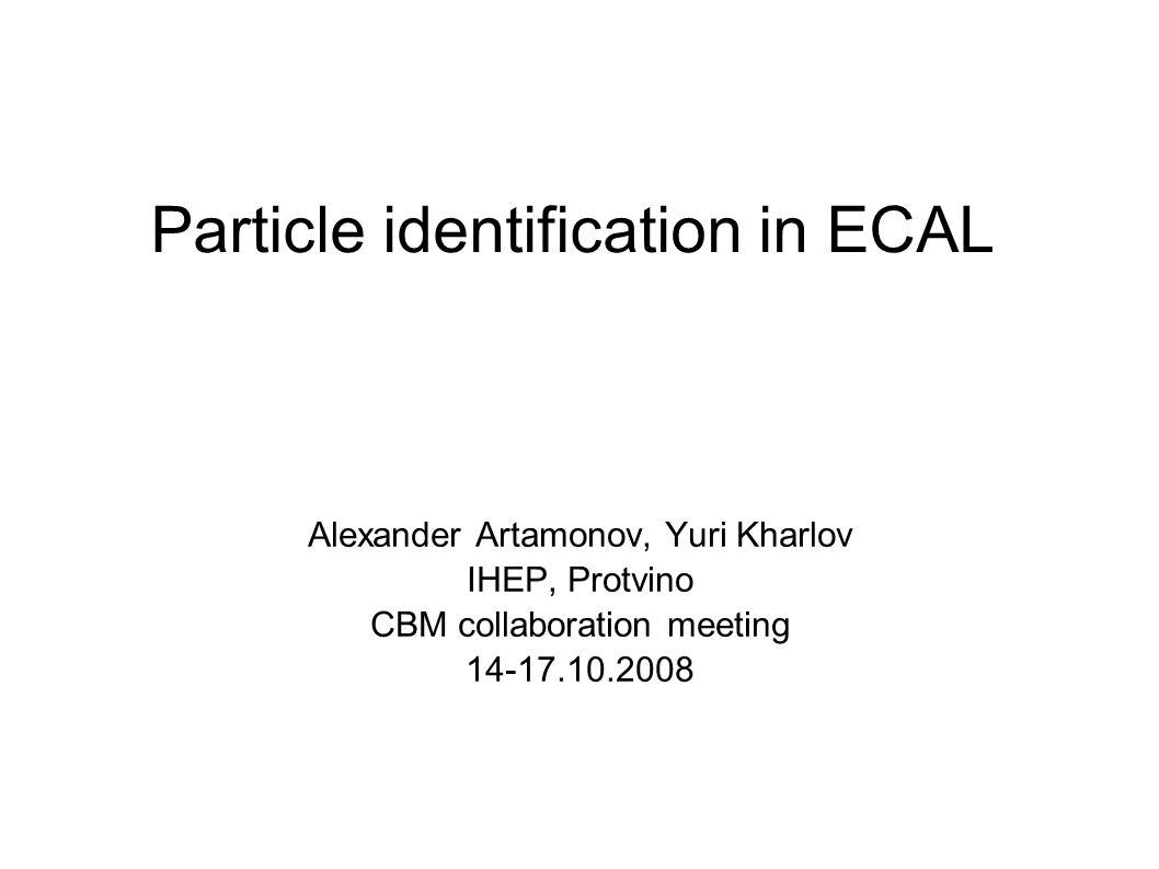 Particle identification in ECAL Alexander Artamonov, Yuri Kharlov IHEP, Protvino CBM collaboration meeting 14-17.10.2008