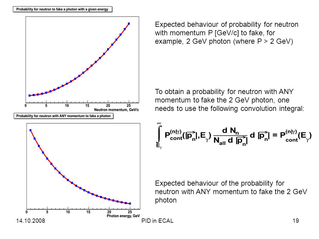 Expected behaviour of probability for neutron with momentum P [GeV/c] to fake, for example, 2 GeV photon (where P > 2 GeV) To obtain a probability for neutron with ANY momentum to fake the 2 GeV photon, one needs to use the following convolution integral: Expected behaviour of the probability for neutron with ANY momentum to fake the 2 GeV photon 14.10.200819PID in ECAL