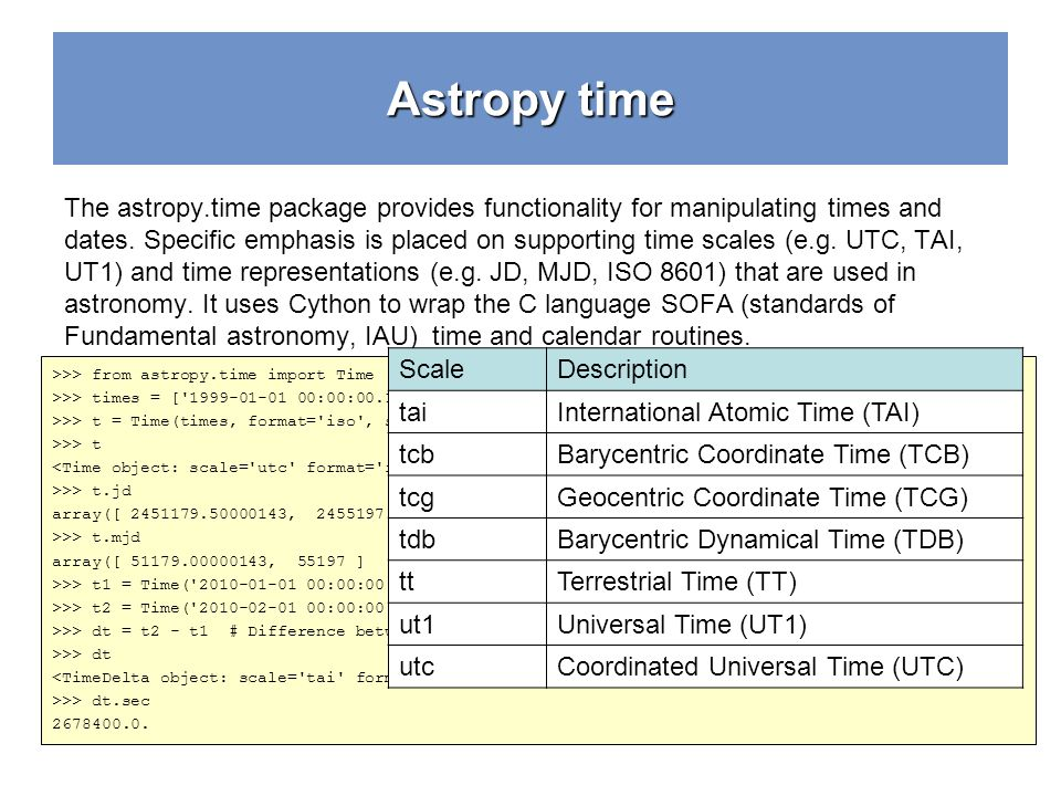 Astropy time The astropy.time package provides functionality for manipulating times and dates. Specific emphasis is placed on supporting time scales (