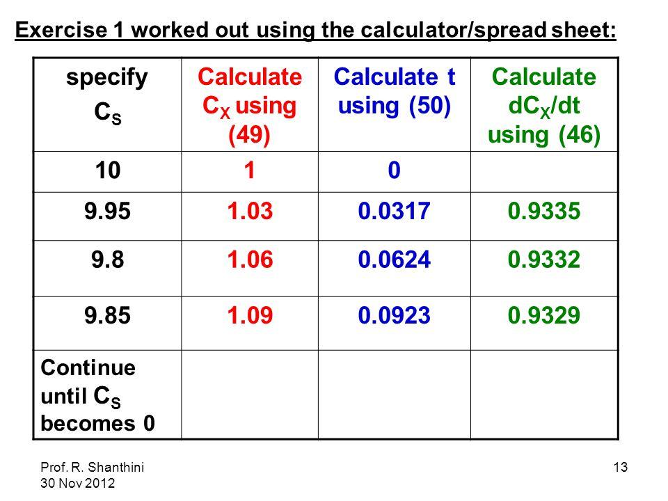 Prof. R. Shanthini 30 Nov 2012 13 specify C S Calculate C X using (49) Calculate t using (50) Calculate dC X /dt using (46) 1010 9.951.030.03170.9335