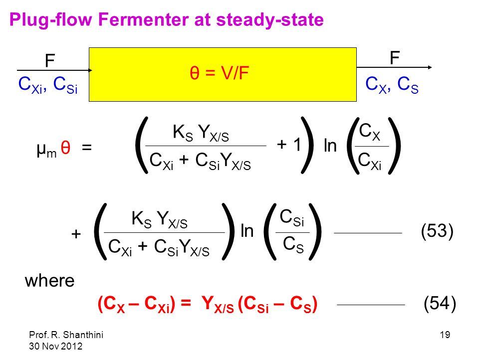 Prof. R. Shanthini 30 Nov 2012 19 F F C Xi, C Si C X, C S θ = V/F μ m θ = K S Y X/S C Xi + C Si Y X/S ( + 1 ) ln C Xi CXCX () + K S Y X/S C Xi + C Si