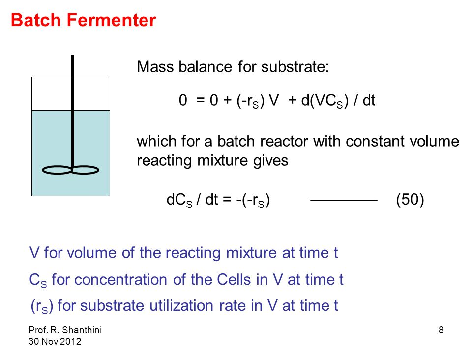 Prof. R. Shanthini 30 Nov 2012 8 V for volume of the reacting mixture at time t C S for concentration of the Cells in V at time t (r S ) for substrate