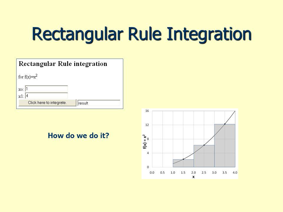Rectangular Rule Integration How do we do it?
