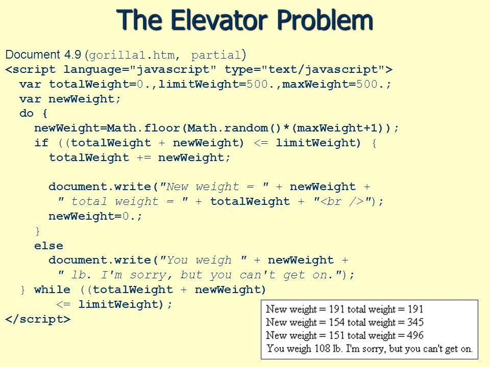 The Elevator Problem Document 4.9 ( gorilla1.htm, partial ) var totalWeight=0.,limitWeight=500.,maxWeight=500.; var newWeight; do { newWeight=Math.flo