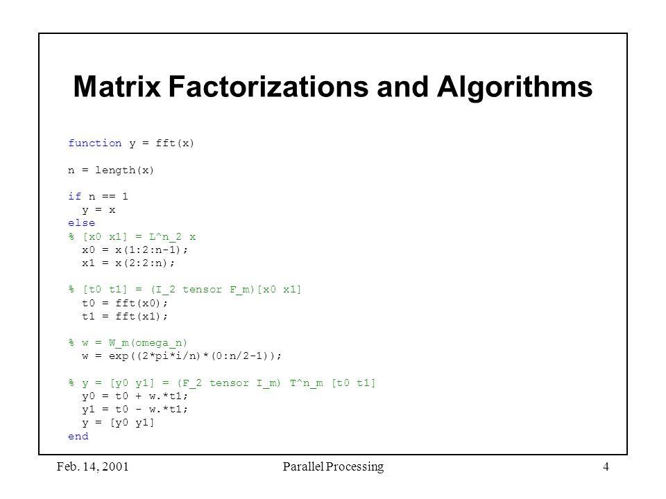Feb. 14, 2001Parallel Processing4 Matrix Factorizations and Algorithms function y = fft(x) n = length(x) if n == 1 y = x else % [x0 x1] = L^n_2 x x0 =