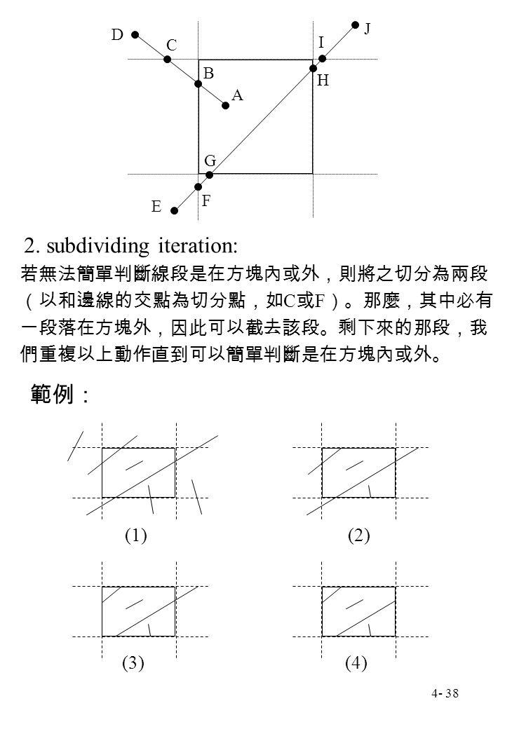 4- 38 A B C D E F G H I J 若無法簡單判斷線段是在方塊內或外,則將之切分為兩段 (以和邊線的交點為切分點,如 C 或 F )。那麼,其中必有 一段落在方塊外,因此可以截去該段。剩下來的那段,我 們重複以上動作直到可以簡單判斷是在方塊內或外。 2. subdividing it