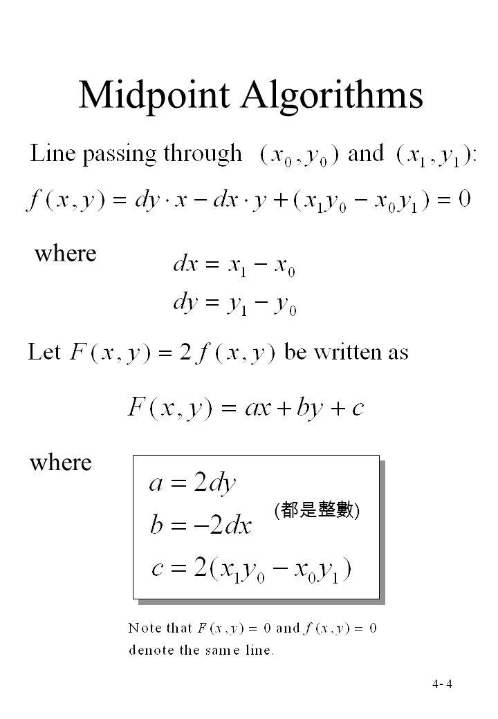 4- 4 Midpoint Algorithms where ( 都是整數 )