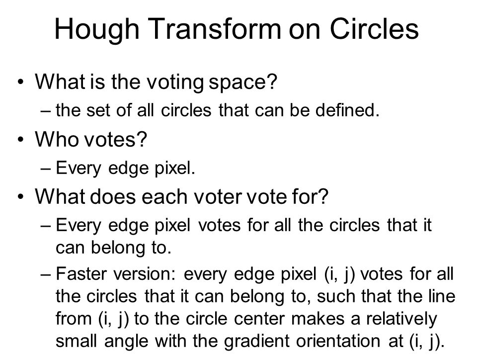Hough Transform on Circles What is the voting space.