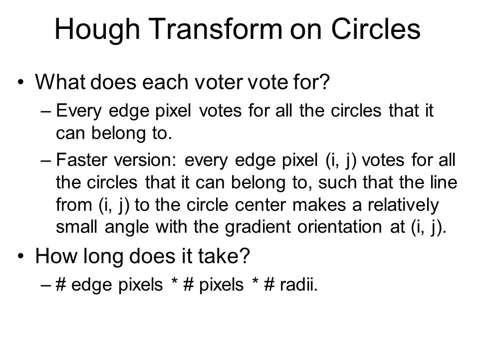 Hough Transform on Circles What does each voter vote for.