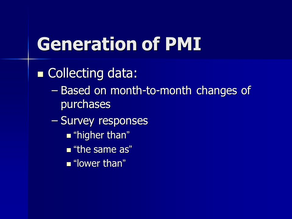 Generation of PMI (con ' t) Calculation method: Calculation method: – Higher than X 1 – The same as X 0.5 – Lower than X 0 –Percent of positive responses plus one- half of those responding the same –Diffusion index for each of the 5 factors is produced
