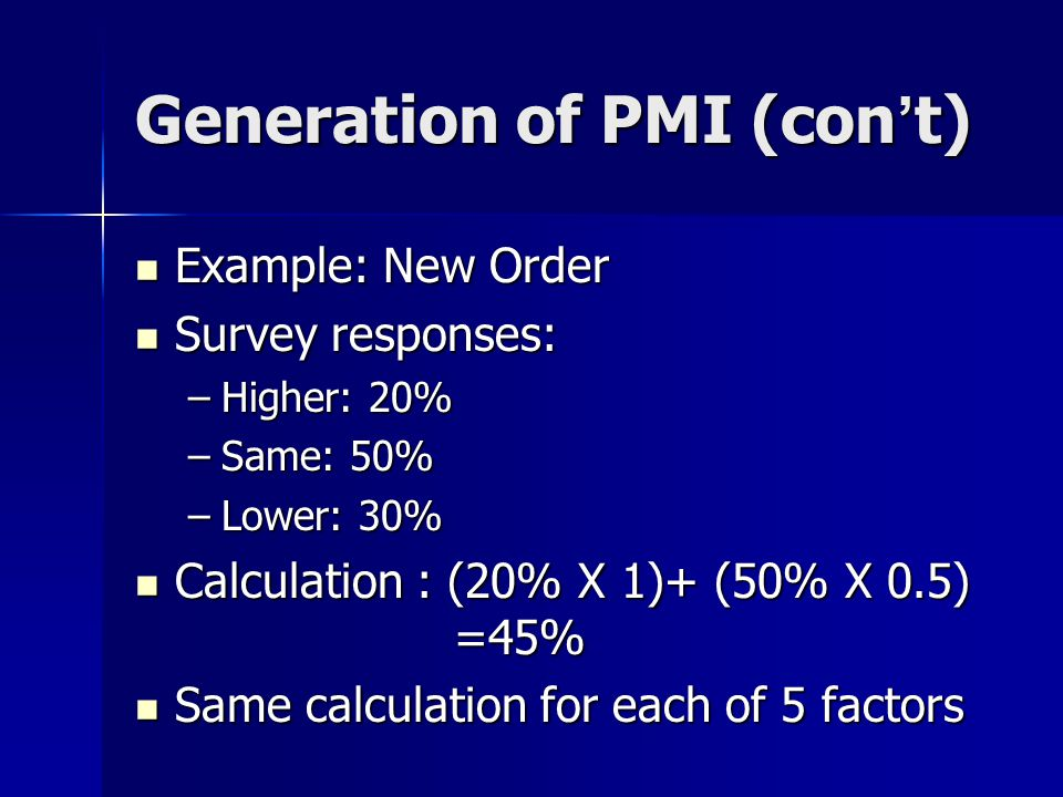 Generation of PMI (con ' t) Example: New Order Example: New Order Survey responses: Survey responses: –Higher: 20% –Same: 50% –Lower: 30% Calculation