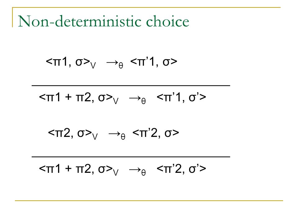 Non-deterministic choice V → θ _____________________________ V → θ _____________________________ V → θ