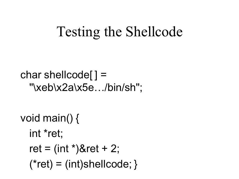 Testing the Shellcode char shellcode[ ] =