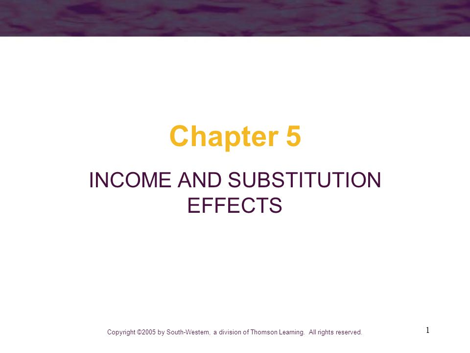 112 Important Points to Note: A fall in the price of a good causes substitution and income effects –for a normal good, both effects cause more of the good to be purchased –for inferior goods, substitution and income effects work in opposite directions no unambiguous prediction is possible