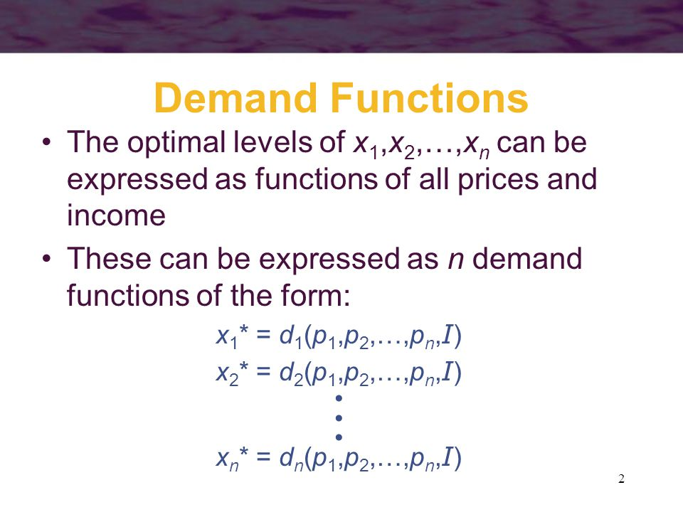 103 Negativity of the Substitution Effect Suppose that an individual is indifferent between two bundles: C and D Let p x C,p y C be the prices at which bundle C is chosen Let p x D,p y D be the prices at which bundle D is chosen