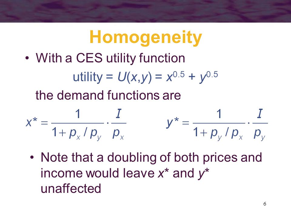37 Compensated & Uncompensated Demand For a normal good, the compensated demand curve is less responsive to price changes than is the uncompensated demand curve –the uncompensated demand curve reflects both income and substitution effects –the compensated demand curve reflects only substitution effects