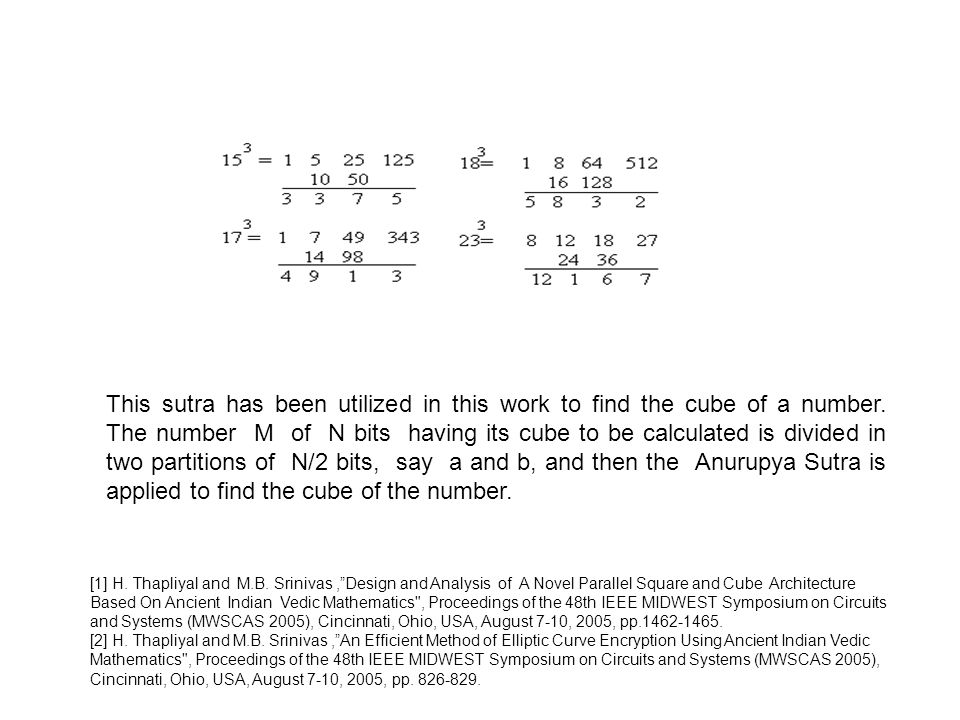 This sutra has been utilized in this work to find the cube of a number.
