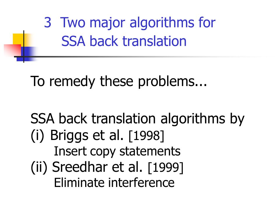 To remedy these problems... SSA back translation algorithms by (i) Briggs et al.