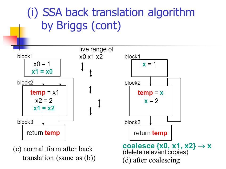 (i) SSA back translation algorithm by Briggs (cont) x = 1 x = 2 return temp block1 block3 block2 temp = x (d) after coalescing x0 = 1 x1 = x0 x2 = 2 x1 = x2 return temp block1 block3 block2 temp = x1 (c) normal form after back translation (same as (b)) live range of x0 x1 x2 coalesce {x0, x1, x2}  x (delete relevant copies)