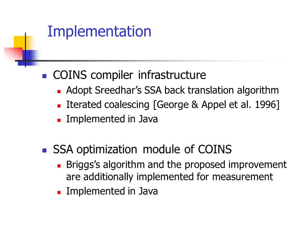 Implementation COINS compiler infrastructure Adopt Sreedhar's SSA back translation algorithm Iterated coalescing [George & Appel et al. 1996] Implemen