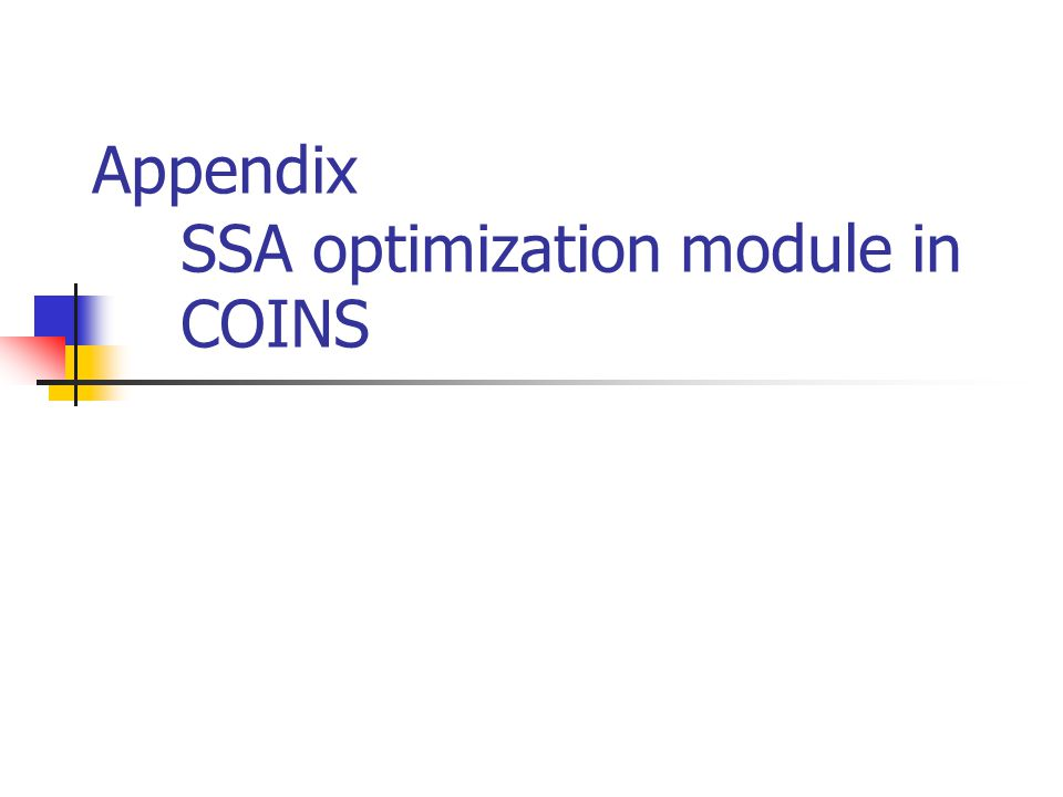 Appendix SSA optimization module in COINS