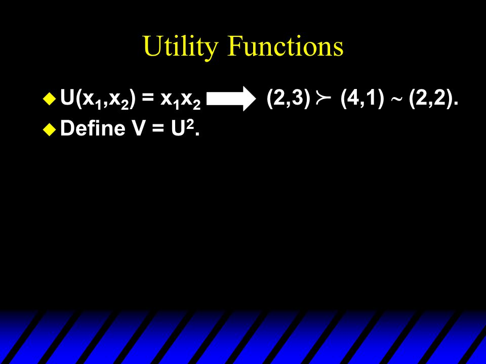 Utility Functions   U(x 1,x 2 ) = x 1 x 2 (2,3) (4,1)  (2,2). u Define V = U 2. 