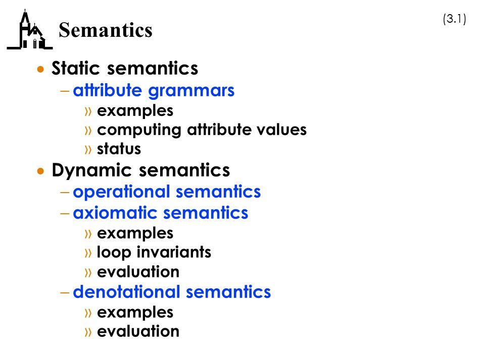(3.1) Semantics  Static semantics – attribute grammars » examples » computing attribute values » status  Dynamic semantics – operational semantics –