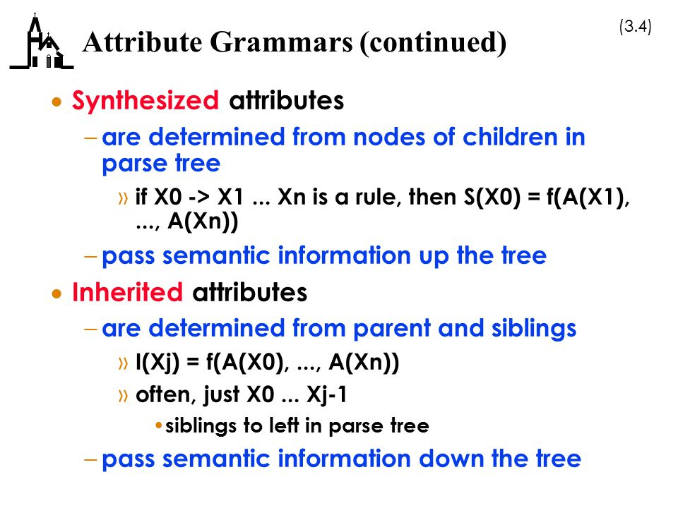 (3.25) Denotational Semantics (continued)  The meaning of language constructs are defined by only the values of the program s variables – in operational semantics the state changes are defined by coded algorithms – in denotational semantics, they are defined by rigorous mathematical functions  The state of a program is the values of all its current variables  Assume VARMAP is a function that, when given a variable name and a state, returns the current value of the variable – VARMAP(i j, s) = v j (the value of i j in state s)