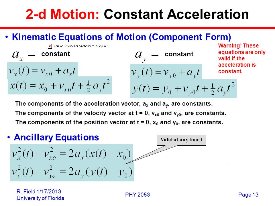 R. Field 1/17/2013 University of Florida PHY 2053Page 13 2-d Motion: Constant Acceleration Kinematic Equations of Motion (Component Form) constant The