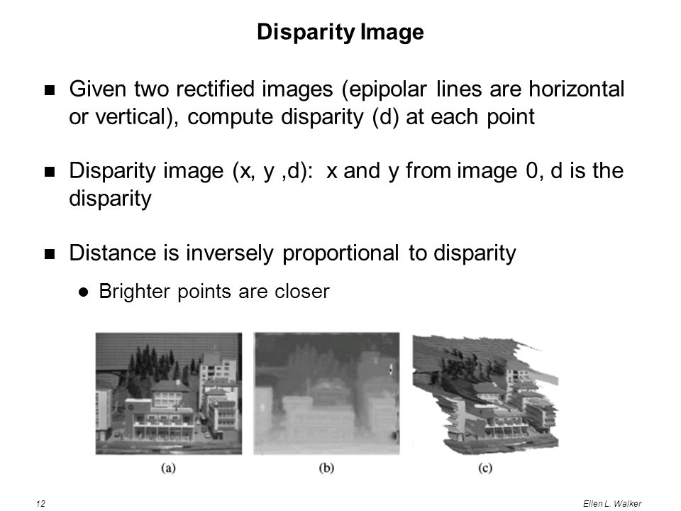 12Ellen L. Walker Disparity Image Given two rectified images (epipolar lines are horizontal or vertical), compute disparity (d) at each point Disparit
