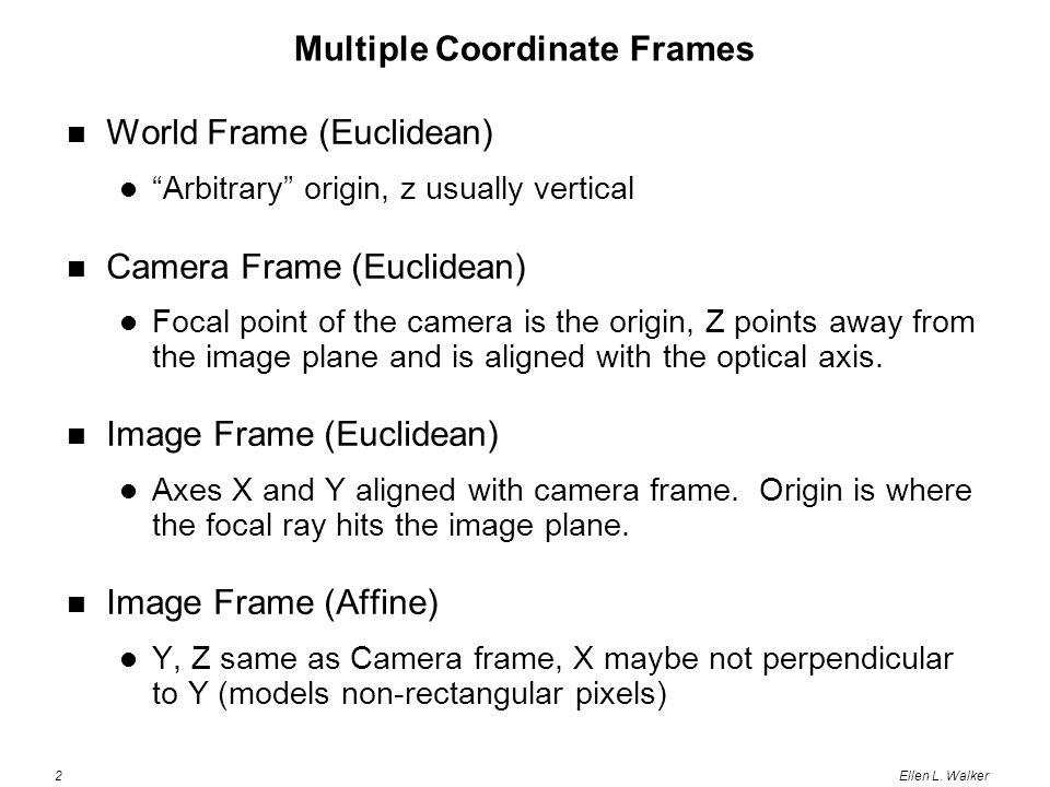 "2Ellen L. Walker Multiple Coordinate Frames World Frame (Euclidean) ""Arbitrary"" origin, z usually vertical Camera Frame (Euclidean) Focal point of the"
