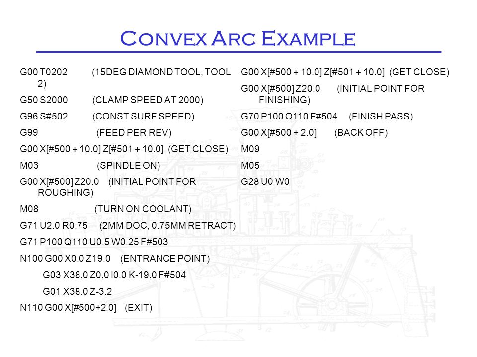 Convex Arc Example G00 T0202 (15DEG DIAMOND TOOL, TOOL 2) G50 S2000 (CLAMP SPEED AT 2000) G96 S#502 (CONST SURF SPEED) G99 (FEED PER REV) G00 X[#500 +