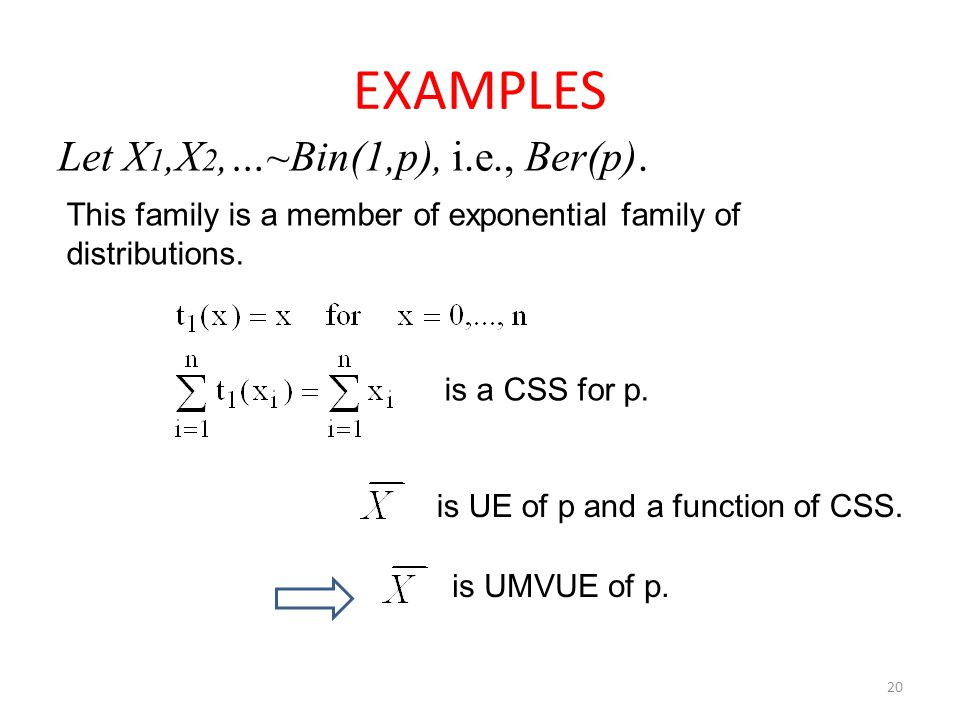 20 EXAMPLES Let X 1,X 2,…~Bin(1,p), i.e., Ber(p). This family is a member of exponential family of distributions. is a CSS for p. is UE of p and a fun