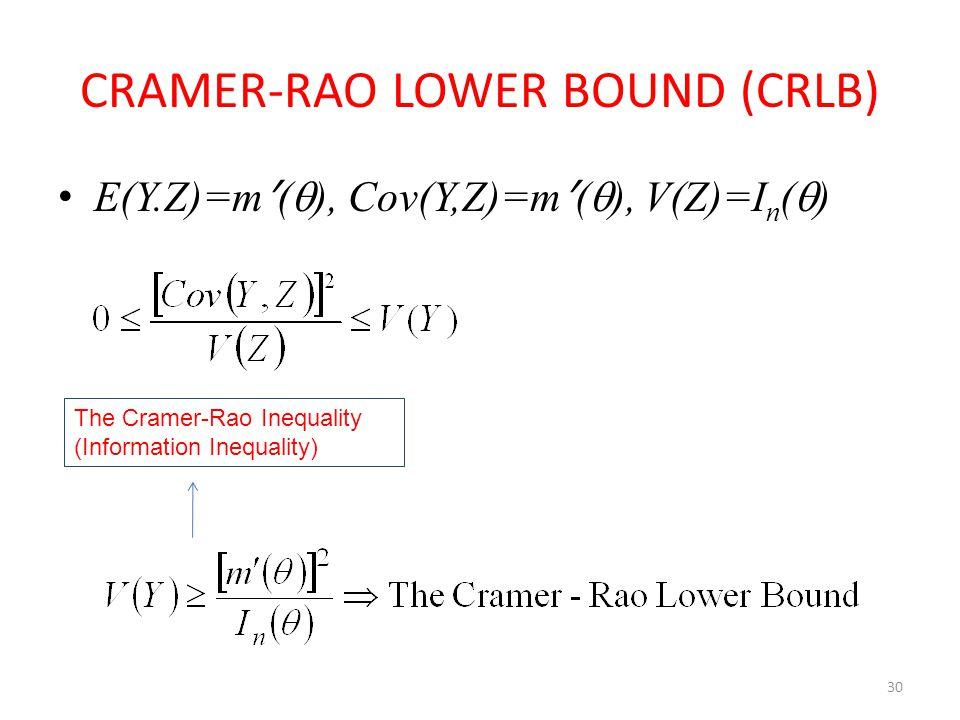 30 CRAMER-RAO LOWER BOUND (CRLB) E(Y.Z)=m ʹ (  ), Cov(Y,Z)=m ʹ (  ), V(Z)=I n (  ) The Cramer-Rao Inequality (Information Inequality)
