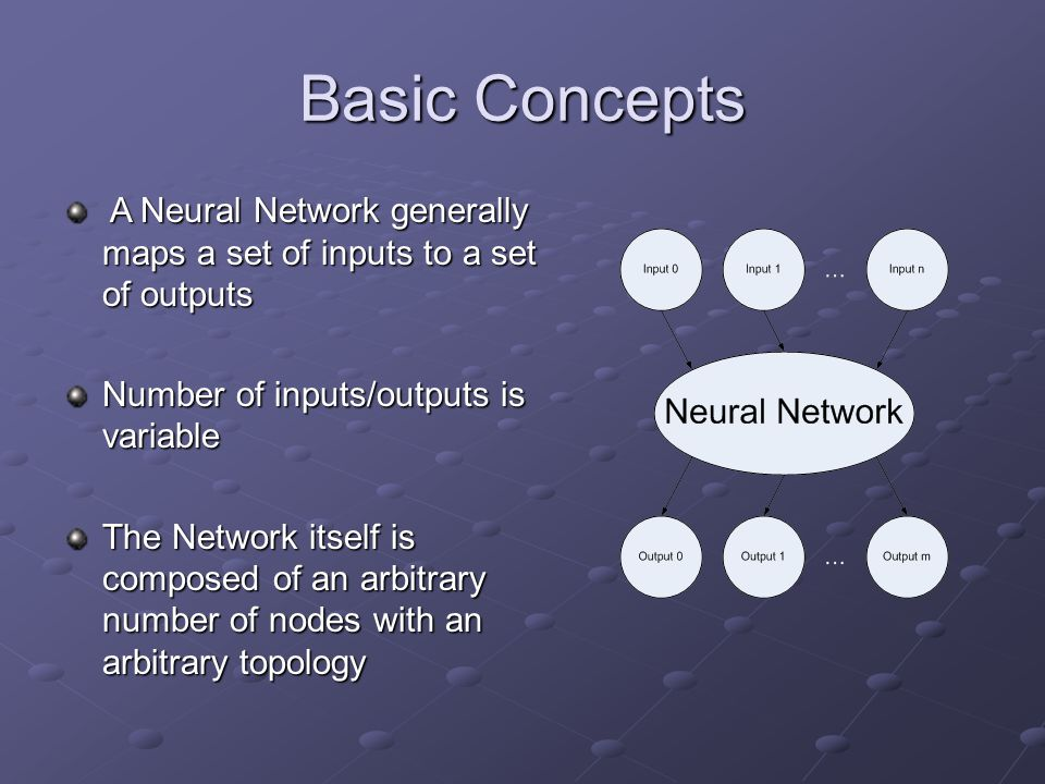 Basic Concepts A Neural Network generally maps a set of inputs to a set of outputs A Neural Network generally maps a set of inputs to a set of outputs