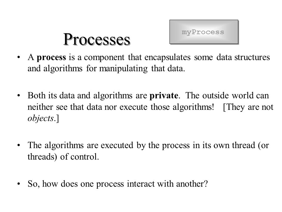 Processes A process is a component that encapsulates some data structures and algorithms for manipulating that data.