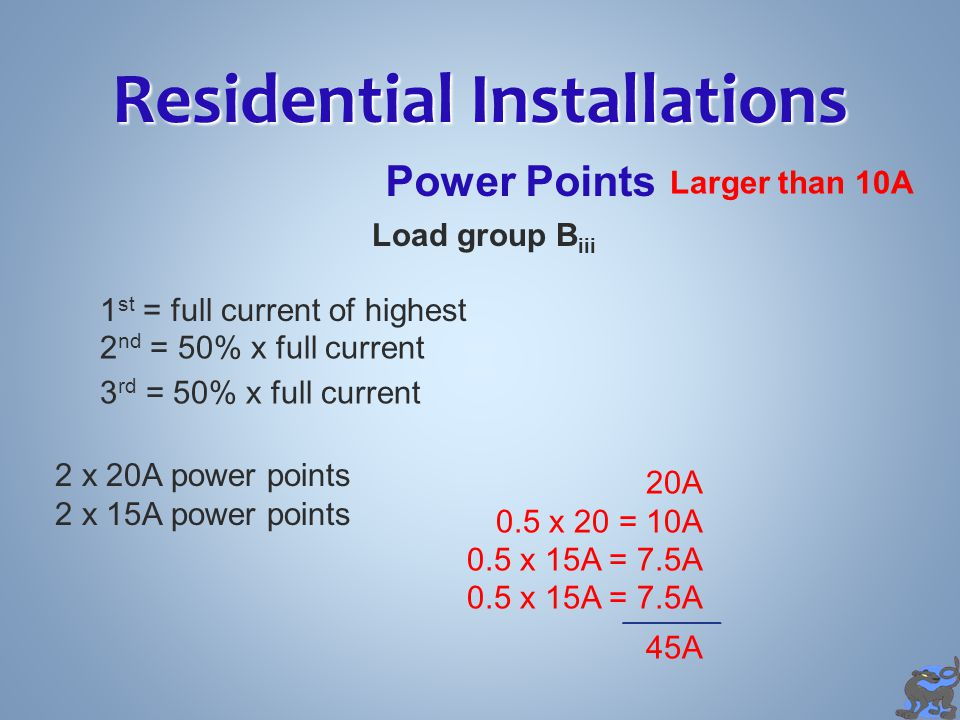 Residential Installations Power Points 3  Outlets Load Group B 10A 3  Outlet AA 1 Point BB CC 1 Point1 Point
