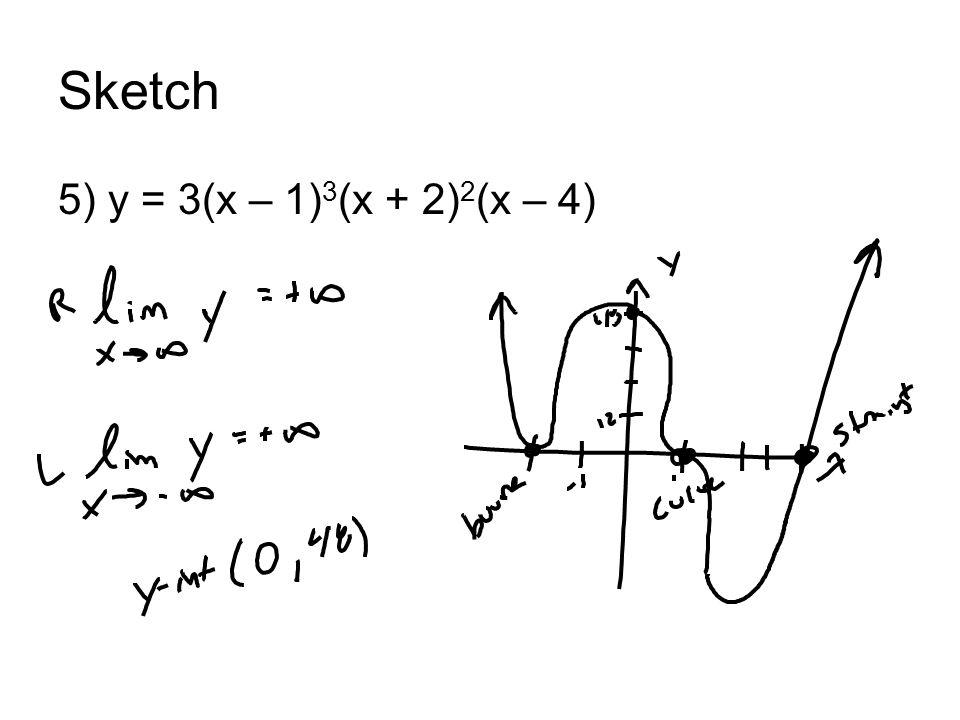 Sketch 5) y = 3(x – 1) 3 (x + 2) 2 (x – 4)