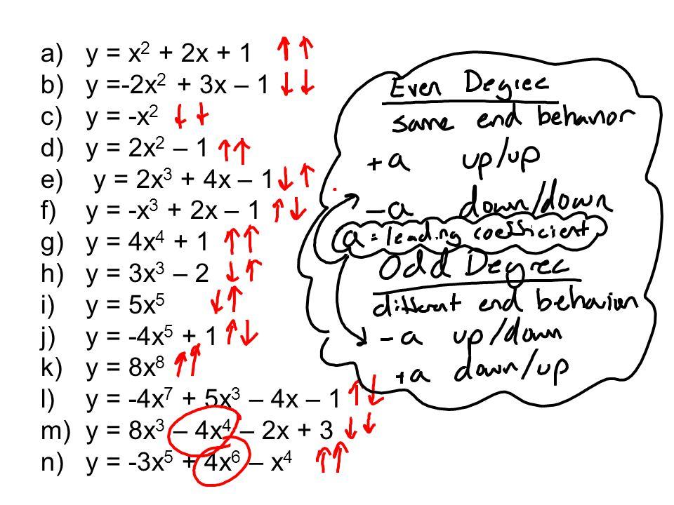 a)y = x 2 + 2x + 1 b)y =-2x 2 + 3x – 1 c)y = -x 2 d)y = 2x 2 – 1 e) y = 2x 3 + 4x – 1 f)y = -x 3 + 2x – 1 g)y = 4x 4 + 1 h)y = 3x 3 – 2 i)y = 5x 5 j)y = -4x 5 + 1 k)y = 8x 8 l)y = -4x 7 + 5x 3 – 4x – 1 m)y = 8x 3 – 4x 4 – 2x + 3 n)y = -3x 5 + 4x 6 – x 4