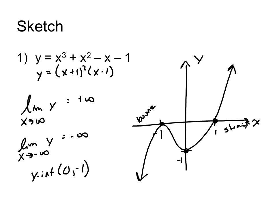 Sketch 1)y = x 3 + x 2 – x – 1
