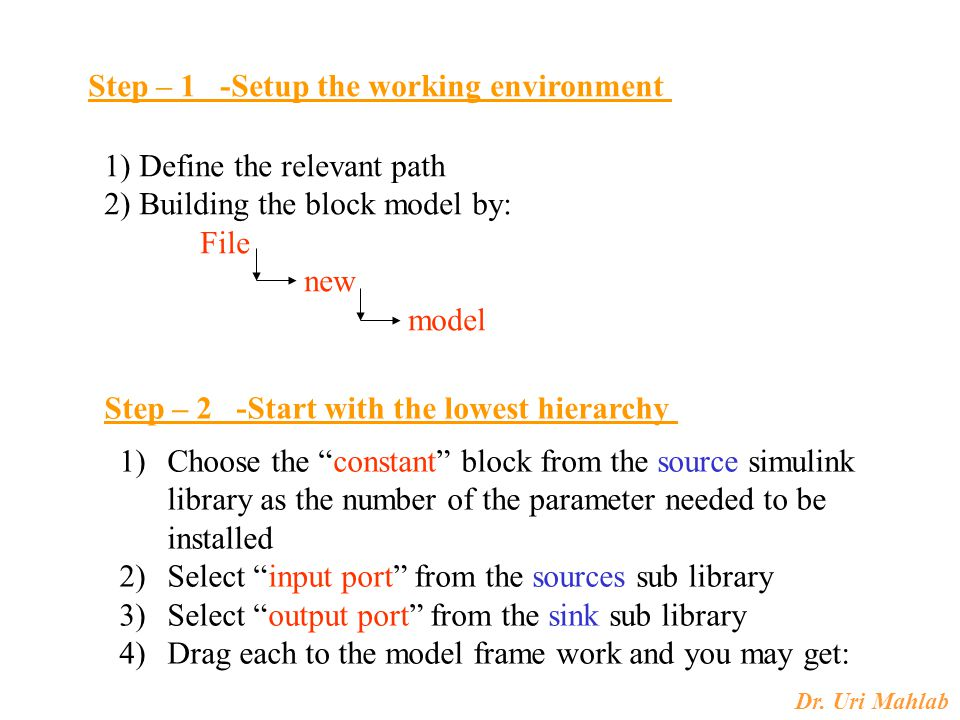 Dr. Uri Mahlab Step – 1 -Setup the working environment 1) Define the relevant path 2) Building the block model by: File new model Step – 2 -Start with