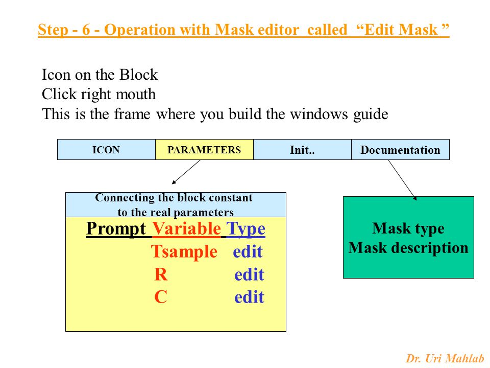 "Dr. Uri Mahlab Step - 6 - Operation with Mask editor called ""Edit Mask "" Icon on the Block Click right mouth This is the frame where you build the win"