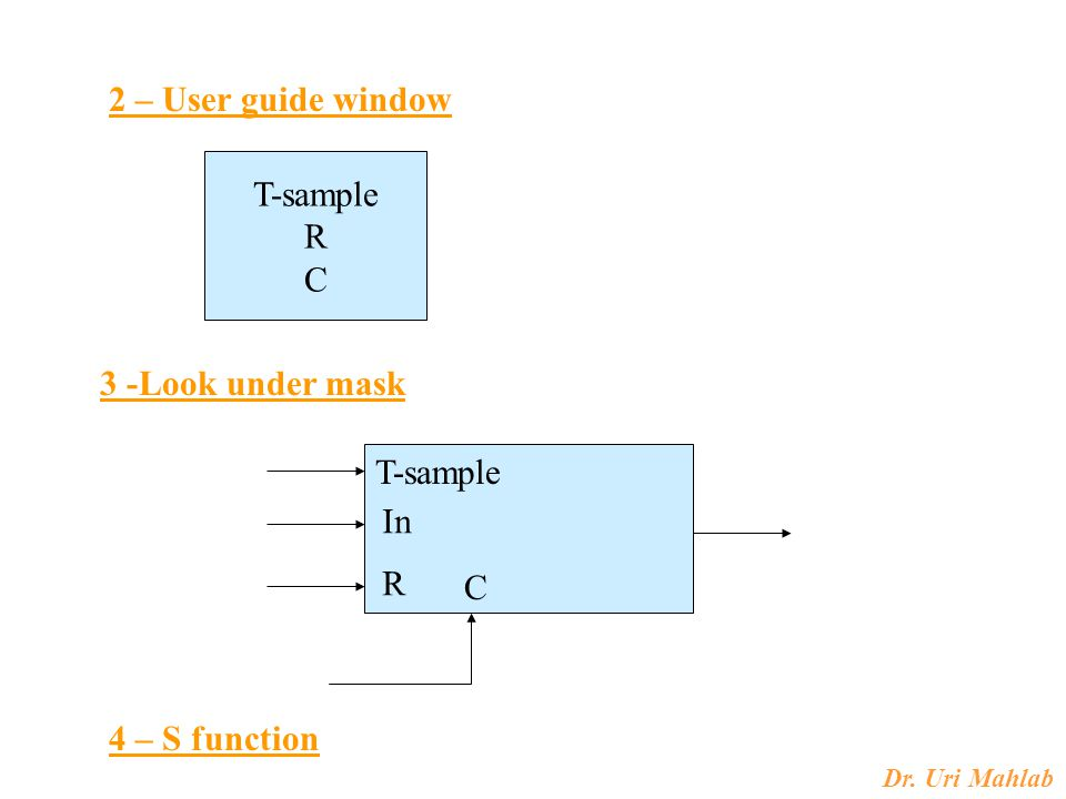 Dr. Uri Mahlab 3 -Look under mask 2 – User guide window T-sample R C T-sample In R C 4 – S function