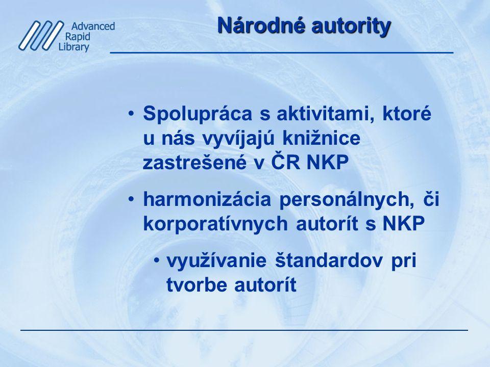 Národné autority Spolupráca s aktivitami, ktoré u nás vyvíjajú knižnice zastrešené v ČR NKP harmonizácia personálnych, či korporatívnych autorít s NKP využívanie štandardov pri tvorbe autorít