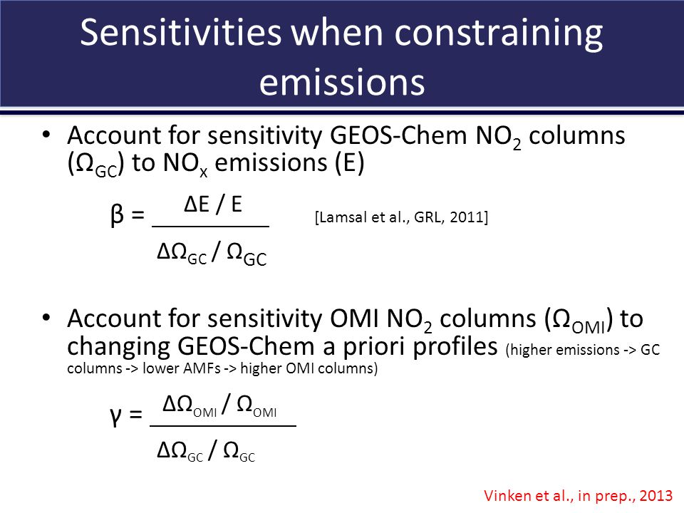 Sensitivities when constraining emissions Account for sensitivity GEOS-Chem NO 2 columns (Ω GC ) to NO x emissions (E) β = ΔE / E e ΔΩ GC / Ω GC Account for sensitivity OMI NO 2 columns (Ω OMI ) to changing GEOS-Chem a priori profiles (higher emissions -> GC columns -> lower AMFs -> higher OMI columns) γ = ΔΩ OMI / Ω OMI e ΔΩ GC / Ω GC Vinken et al., in prep., 2013 [Lamsal et al., GRL, 2011]