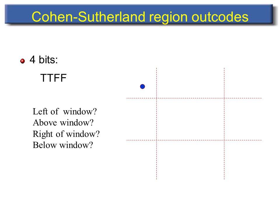 Cohen-Sutherland region outcodes 4 bits: TTFF Left of window.