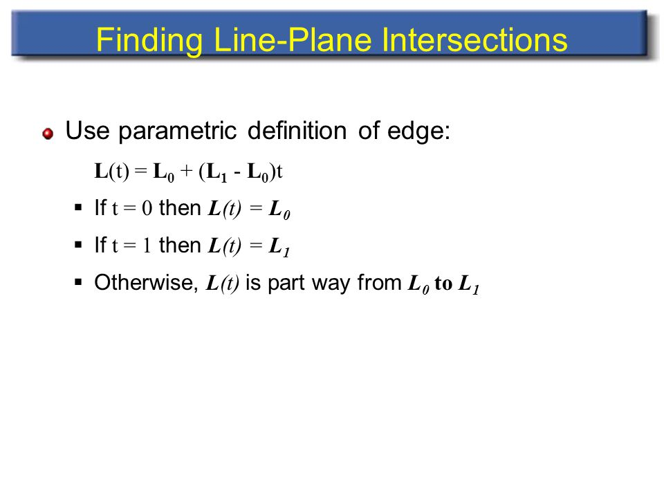 Finding Line-Plane Intersections Use parametric definition of edge: L(t) = L 0 + (L 1 - L 0 )t  If t = 0 then L(t) = L 0  If t = 1 then L(t) = L 1  Otherwise, L(t) is part way from L 0 to L 1