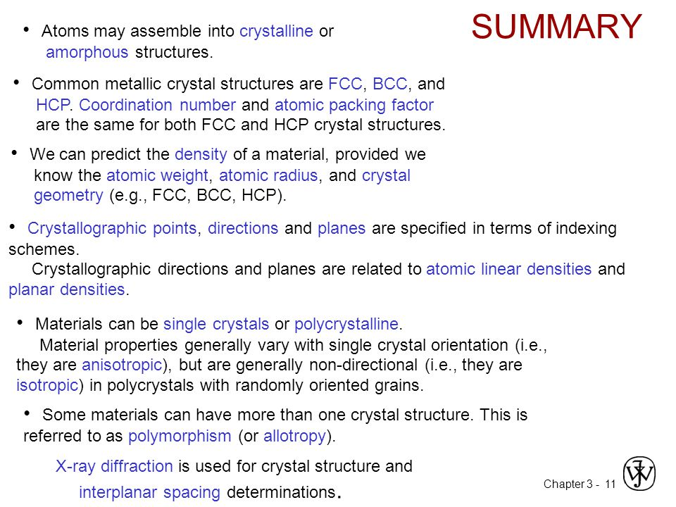 Chapter 3 -11 SUMMARY Atoms may assemble into crystalline or amorphous structures. We can predict the density of a material, provided we know the atom