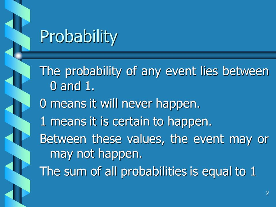 2 Probability The probability of any event lies between 0 and 1.